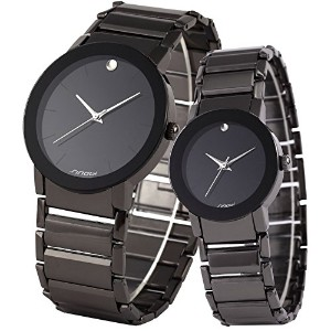 ampm24 2 pcs watches for Couple LoversメンズLady Women Black Quartz Wrist Watch mixsnb001