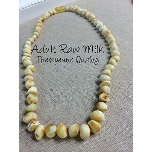 Baltic Amber Necklace for Adults Raw Milk 18 Arthritis Carpal Tunnel Sciatica Back Ache Head Ache Some Migraines - Maximum effective by Baltic Amber