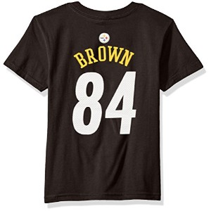 NFL Boys 4 – 7 Antonio Brown Pittsburgh Steelers Mainliner Player Name & Number半袖Tシャツ、ミディアム/ ( 5 – 6)、ブラック