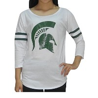 NCAA – Michigan State Spartans : Womens Athletic 3 / 4スリーブTシャツ S ホワイト