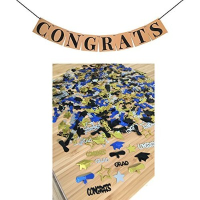 (Gold Black Silver Blue) - CONGRATS BANNER SIGN CONFETTI KIT - Perfect Graduation Decorations...