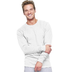 Hanes 5186 Adult Long Sleeve Beefy-T, White - Extra Large