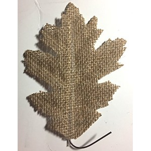Tan Burlap Leaves with Wireステム、Maple &オーク、16個、Garlands、花輪、Bouquets、Fall Arrangements、国ウェディングの装飾...