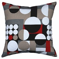 Multi-sized Both Sides Geometric Round Printed Cushion Cover LivebyCare Linen Cotton Throw Pillow...