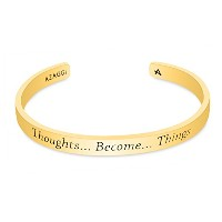 azaggi真鍮手作りThoughts Become Things Inspirational Sign Cuffブレスレット