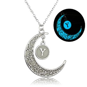 linsh初期ネックレスGlow in Dark Hollow Out Carved Moon Y文字ペンダントネックレス色:シルバー