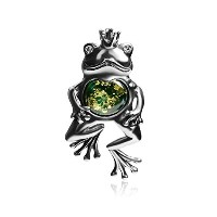 Green Amber Sterling Silver Frogプリンセスペンダント