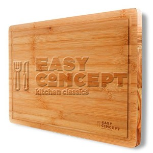 Extra Large Bamboo Cutting and Serving Board with Drip Groove by Easy ConceptキッチンClassics–Thick...