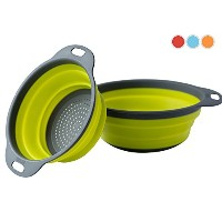 Colanderセット – 2 Collapsible Colanders ( Strainers )セットby Comfify – Includes 2折りたたみシリコンStrainersサイズ8...