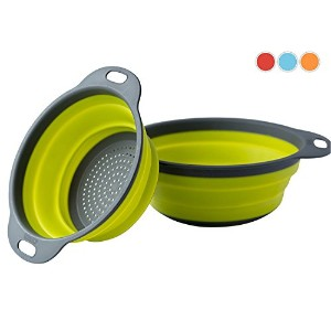 Colanderセット–2Collapsible Colanders ( Strainers )セットby Comfify–Includes 2折りたたみシリコンStrainersサイズ8...