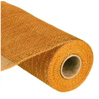 (25cm x 10 yards (9.1m), Gold Brown) - 25cm x 9.1m Deco Poly Mesh Ribbon (Gold/Brown with Laser...