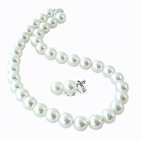 One&Only Jewellery 貝パール 12mm ネックレス & イヤリング 2点セット(ホワイト)
