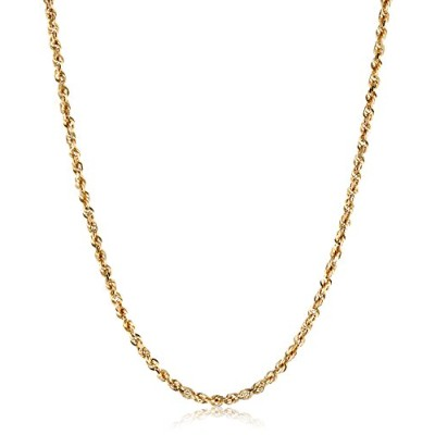 """Curated Duragold 14k Yellow Gold Solid Diamond-Cut Rope Chain Necklace (3.0mm ), 24"""" 023DGLL-24 メンズ..."""
