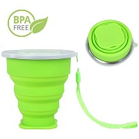 R & L Collapsible Cup with Lid S、コンパクト、BPAフリーシリコン折りたたみカップ、旅行カップthat持ち運び簡単、キャンプやハイキングピクニック グリーン