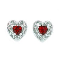 1 Ct Garnet Heart LOVE Diamond Stud Earrings .925 Sterling Silver Rhodium Finish