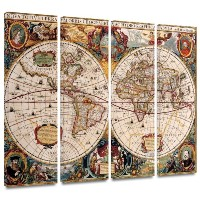 Henricus Hondius ' A New and Accurate Map of the World ' 4Pieceギャラリー‐ 36 by 48 set Map01-36x48...