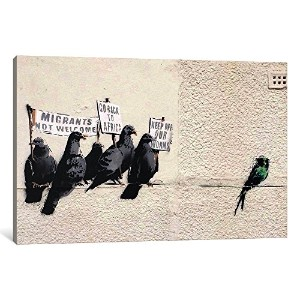 """iCanvasART 1ピースImmigration壁画キャンバスプリントby Banksy、0.75by 12by 8インチ 26"""" x 18""""/0.75"""" Deep BNK76"""