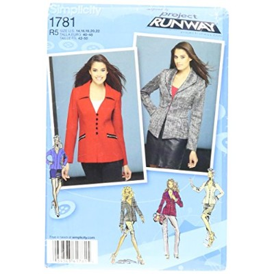 Simplicity Project Runway Pattern 1781 Misses Jacket in 2 Lengths with Front and Collar Variations...