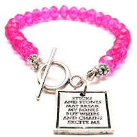 Sticks and Stones May Break My Bones But WhipsとチェーンExcite MeクリスタルToggle Bracelet Inホットピンク