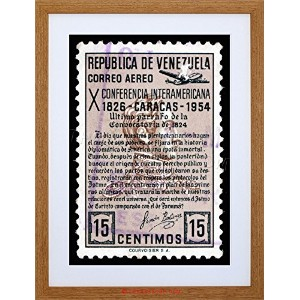 Postage stampベネズエラSimon Bolivar Quote Caracas Framed Print f97 X 5804 9 x 7 inc - 23 x 18 cm F97X5804_Light Oak