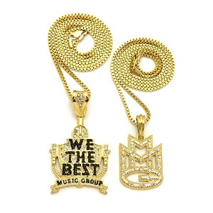 Iced Out ' MMG ' & We The Bestペンダント&ボックスチェーンヒップホップネックレスセットrc2448g
