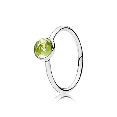 PANDORA Rings パンドラリング8月の水滴女性の誕生日プレゼント-August Birthstone Silver Ring with Peridot, 6 mm 191012PE 54