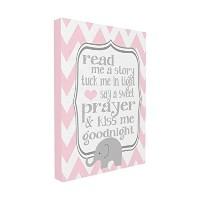 The Kids Room by Stupell Read Me A Story Elephant in Pink Chevron Canvas Art, 16 x 20 by The Kids...