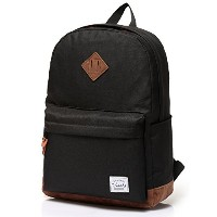Vaschy Unisex Classic Lightweight Water-resistant Campus School Rucksack Travel BackPack Black Fits...