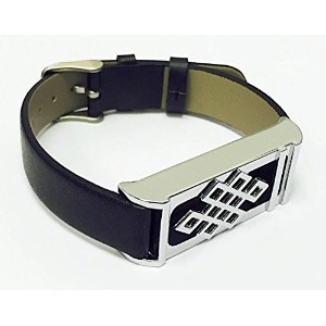 BSI Black Leather Replacement Bracelet With New Unique Design Silver Metal Housing For Fitbit Flex...