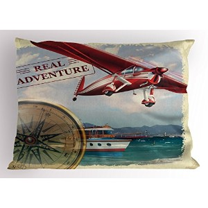 Adventure Pillow Sham by Ambesonne、RealアドベンチャーQuote with coastlineと赤の飛行機Journey旅行テーマアート、装飾標準Kingサイズプ...