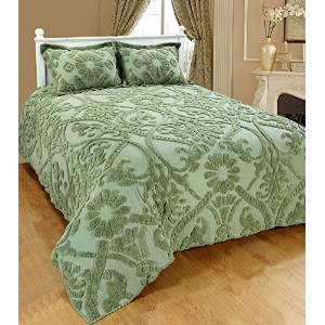 SaralホームFashions Reliefシェニール織Bedspread with Sham キング グリーン SOS-1013ICN-KING-GREEN