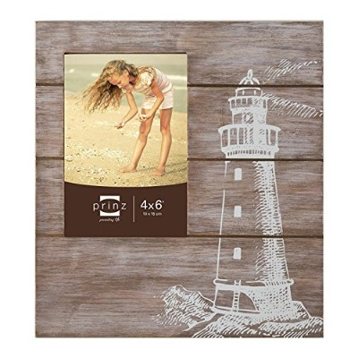 High Quality High Tide Solid Wood Frame Silkscreened with Lighthouse Design, 4 by 6-Inch