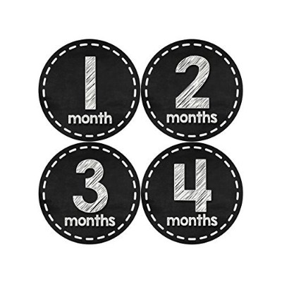 Months in Motion 433 Monthly Baby Stickers Baby Boy or Baby Girl Chalkboard White by Months In...