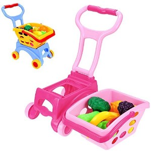 ( US Stock ) smibie子プッシュToy Grocery Shopping Cart with野菜とフルーツ ピンク