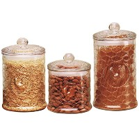 Circleware Roosterセットの3ガラスFood Canister Jars withガラス蓋、33/ 47/ 57オンス、クリア