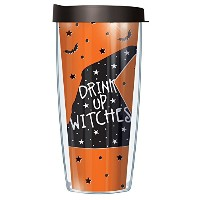 Drink Up Witches 16オンスマグタンブラーカップブラック蓋付き 22oz オレンジ