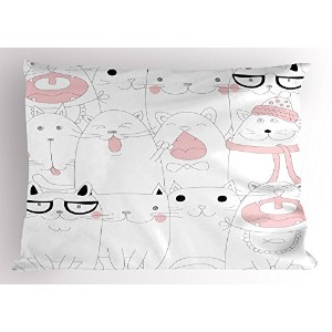 Kitten Pillow Sham by lunarable、多くの直面Bunch of Happy Sad Sleepy Sassy Cat Caricatureキッズ子供部屋テーマ...