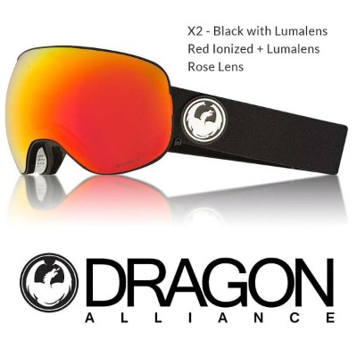 2018 DRAGON ドラゴン ゴーグル GOGGLE X2 BLACK RED LUMALENS JAPAN-FIT