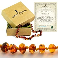 Amber Teething Necklace for Babies - Anti Inflammatory, Drooling and Teething Pain Reducing Natural...