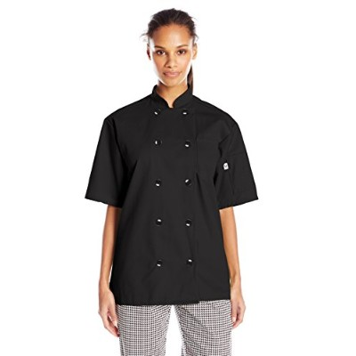 Uncommon Threads 0415-0106 South Beach Short Sleeve Chef Coat in Black - 2XLarge