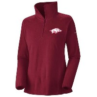 Arkansas RazorbacksレディースダークレッドColumbia Glacial Fleece 1 / 2 Zip IIジャケット