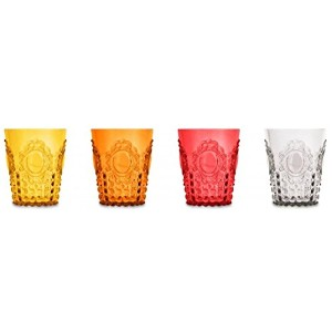 Baci Milanoバロック& Rock Limited Editionアクリル4つ( 4) -pieceセット Water Glasses レッド brgwa.col01/820bxd-ro