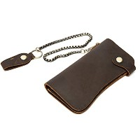 Zhhlaixing Mens Long Folding Button Leather Coin Credit Card Holder Purse 財布 Money Organizer Wallet...
