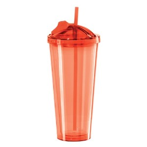 Oggi 7357.2 Double Walled Tumbler with Slide-Open Straw, 20-Ounce, Red   水筒 タンブラー レッド 600ml