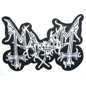 MAYHEM Logo Iron On Sew On Embroidered Black Metal Patch3.9/10cm x 2.6/6.6cm BY MNC SHOP by MNC...