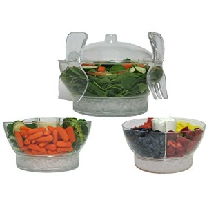 Large Clear Serving Bowl on Ice蓋カバーand Tongs Set–Perfect forサラダフルーツベジタブルトレイChips and Salsa Shrimp...