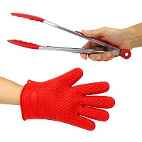 Just-f-Care Heat Resistant Grilling BBQ Useful Set, Silicone Glove for Cooking, Baking, Smoking &...