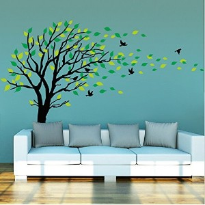 Large Dark and Green Tree Blowing in the Wind Tree Wall Decals Wall Sticker Vinyl Art Kids Rooms...