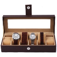 Zhhlinyuan ハイクオリティ Clear PVC Display Case Watch Box For Watches 6 Slots