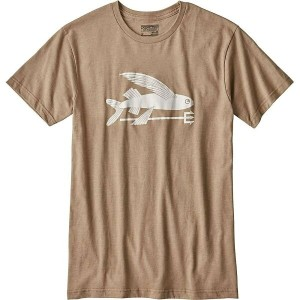 パタゴニア メンズ トップス Tシャツ【Patagonia Flying Fish Cotton / Poly T-Shirt】Mojave Khaki